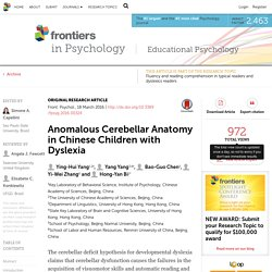 Anomalous Cerebellar Anatomy in Chinese Children with Dyslexia