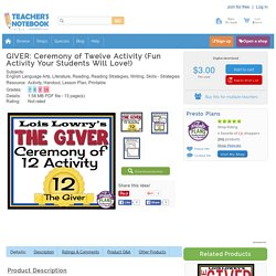 GIVER: Ceremony of Twelve Activity (Fun Activity Your Students Will Love!)