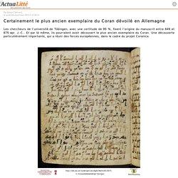 Certainement le plus ancien exemplaire du Coran dévoilé en Allemagne