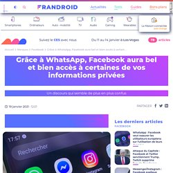 Grâce à WhatsApp, Facebook aura bel et bien accès à certaines de vos informations privées