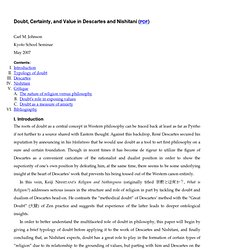 Doubt, Certainty, and Value in Descartes and Nishitani