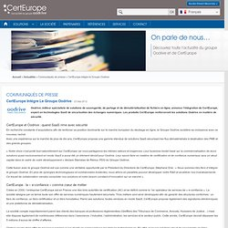 intègre le Groupe Oodrive - CertEurope