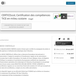 CERTICEscol, Certification des compétences TICE en milieu scolaire