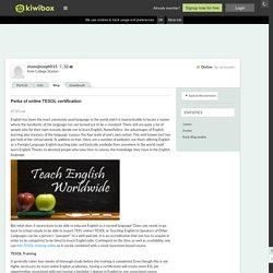 Perks of online TESOL certifica…