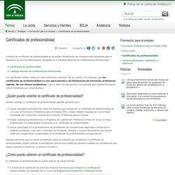 Junta de Andalucía - Certificados de profesionalidad