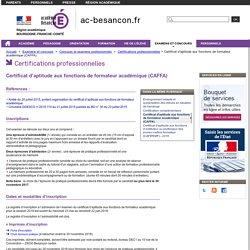 Certificat d'aptitude aux fonctions de formateur académique (CAFFA)