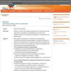 Certificat de capacité à animer en agroécologie(Carif-Oref)