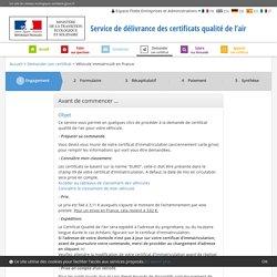 Service de délivrance des certificats qualité de l'air - Ministère de la Transition écologique et solidaire