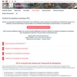 Certificat de compétences numériques (PIX) – Faculté des sciences