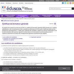 Certificat de formation générale - Certificat de formation générale