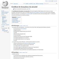 Certificat de formation à la sécurité