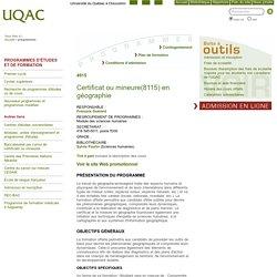 Certificat ou mineure(8115) en géographie - Programmes - Université du Québec à Chicoutimi
