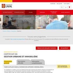 Certificat en gestion urbaine et immobilière
