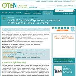 Le CALIF, Certificat d'Aptitude à La recherche d'Informations Fiables (sur internet)