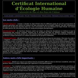 mots-clefs : Certificat International d'Écologie Humaine (CIEH)