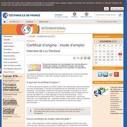 Certificat d'origine : mode d'emploi