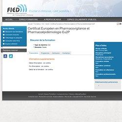 Certificat Européen en Pharmacovigilance et Pharmacoépidémiologie Eu2P