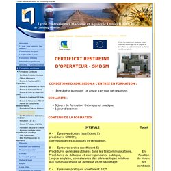 Certificat Restreint d'Opérateur - SMDSM