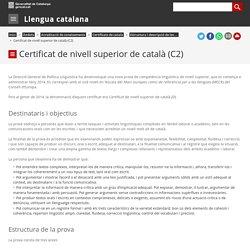 Certificat de nivell superior de català (C2). Llengua catalana