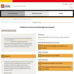 Certificat en sciences et technologie des aliments