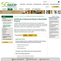 NAIOP Certificate of Advanced Study in Real Estate Finance – Real Estate Finance Certificate