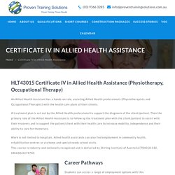 Certificate IV in Allied Health Assistance, Cert IV Health Care - Proven Training Solutions