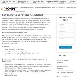 Certificate Attestation For Saudi Arabia