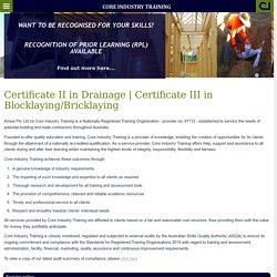 Certificate III in Blocklaying/Bricklaying