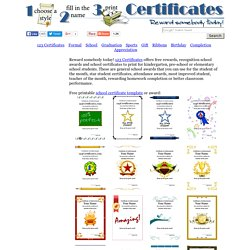 Printable school certificates, school awards to print, student reward certificates, school-theme certificate templates, certificates for teachers to print