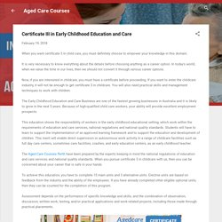 Certificate III in Early Childhood Education and Care