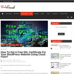How to Get a Free SSL certificate for Wordpress website using Cloudflare?