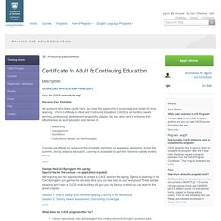 Certificate in Adult & Continuing Education