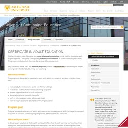 Certificate in Adult Education - College of Continuing Education