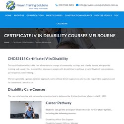 Certificate IV in Disability Courses Melbourne - Proven Training Solutions