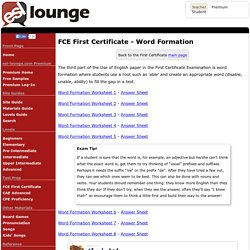 Cambridge First Certificate in English Examination - Word Formation