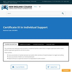 Certificate III in Aged Care Services at New England College