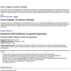 Stanford GSB Executive Education - Stanford LEAD Certificate: Corporate Innovation