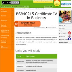 Certificate IV in Business Melbourne, Australia