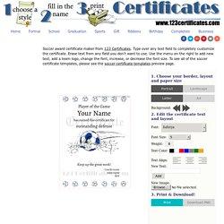 Soccer Award Certificate Maker: make personalized soccer awards