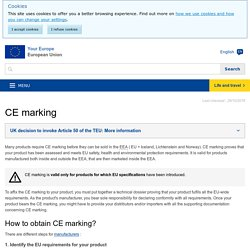CE marking – obtaining the certificate, EU requirements - Your Europe