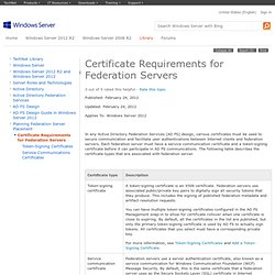 Certificate Requirements for Federation Servers