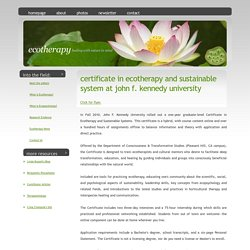 Certificate in Ecotherapy and Sustainable Systems at JFK University