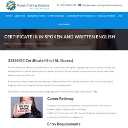 Certificate III in Spoken and Written English - Proven Training Solutions