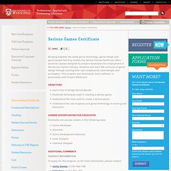 Serious Games Certificate @ The University of Winnipeg's dce.UWinnipegCourses.ca