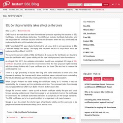 SSL Certificate Validity takes affect on the Users