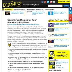 Security Certificates for Your BlackBerry PlayBook