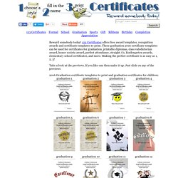 Printable graduation certificates, graduation certificate templates and blank award certificates to print