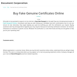 Buy Fake Genuine Certificates Online - Document Corporation