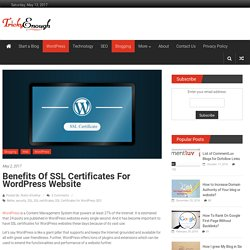 Benefits of SSL Certificates for WordPress Website - Tricky Enough