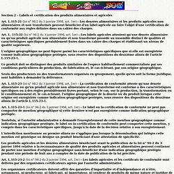 Labels et certification de produits alimentaires et agricoles